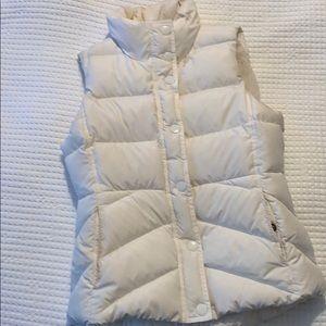 J. Crew White puffer vest with fleece lining
